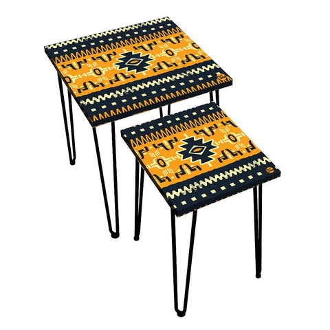 Nesting Tables Set Of 2 ,  Nest Of Tables For Living Room -   Beautiful Mexican Pattern