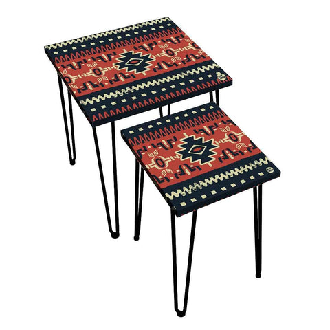 Nesting Tables Set Of 2 ,  Nest Of Tables For Living Room -   Brown Mexican Pattern