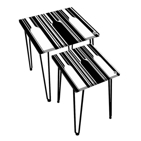 _Nesting Tables Set Of 2 ,  Nest Of Tables For Living Room - Monochrome Collection- Black White Pattern