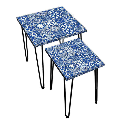 Nesting Tables Set Of 2 ,  Nest Of Tables For Living Room -   Spanish Collection - Azulejo
