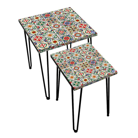 Nesting Tables Set Of 2 ,  Nest Of Tables For Living Room -   Spanish Collection - Talavera Mexican Style