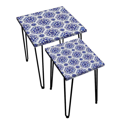 Nesting Tables Set Of 2 ,  Nest Of Tables For Living Room -   Spanish Collection - Floral Spanish Design