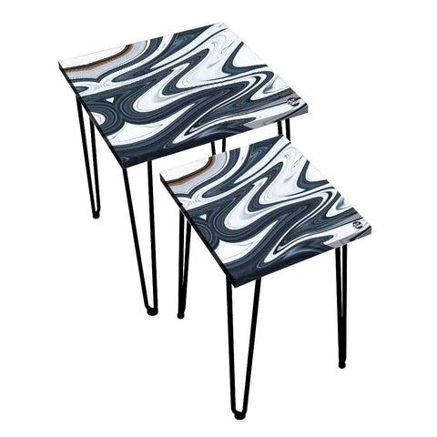 Nesting Tables Set Of 2 ,  Nest Of Tables For Living Room -   Blue White Marble Swirl