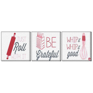 Wall Art Decor Hanging Panels Set Of 3 -Just Roll Be Grateful