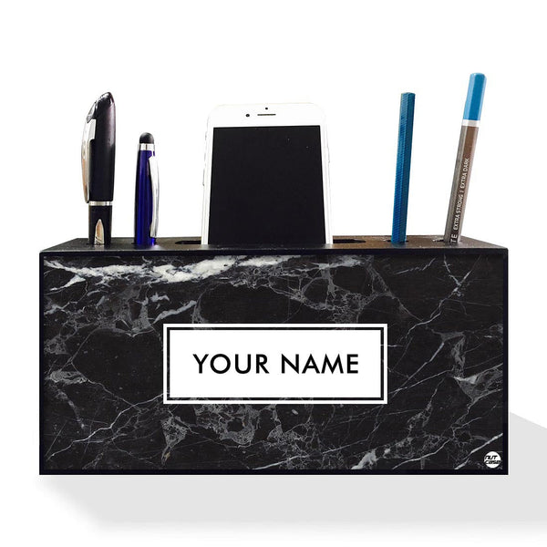 Personalised Pen Mobile Stand Holder - Marble Design
