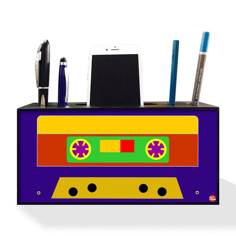 Pen Mobile Stand Holder Desk Organizer - Cassette Retro Music Blue