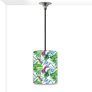 Ceiling Hanging Pendant Lamp Shade - Green and Purple Tropical Leaf
