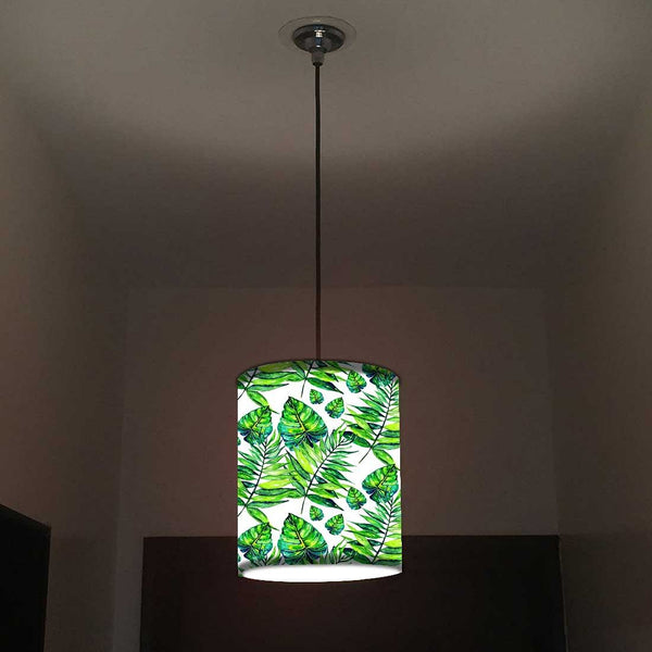 Ceiling Hanging Pendant Lamp Shade - Dark Green Tropical Leaf