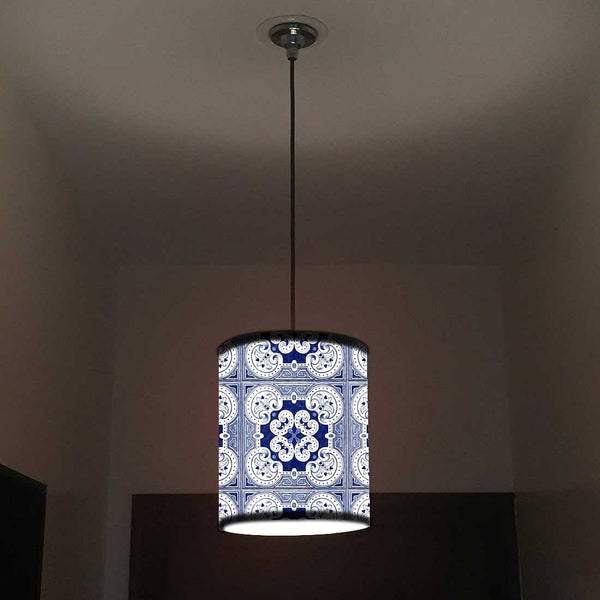 Ceiling Hanging Pendant Lamp Shade - Floral Spanish Tiles Effect