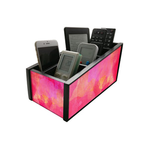 Nutcase Wooden Remote Control Stand iPad Holder For TV / AC Storage Multipurpose Organiser - Height 5in x Length 10in x Width 4.75in - Watercolors Pink - Nutcase
