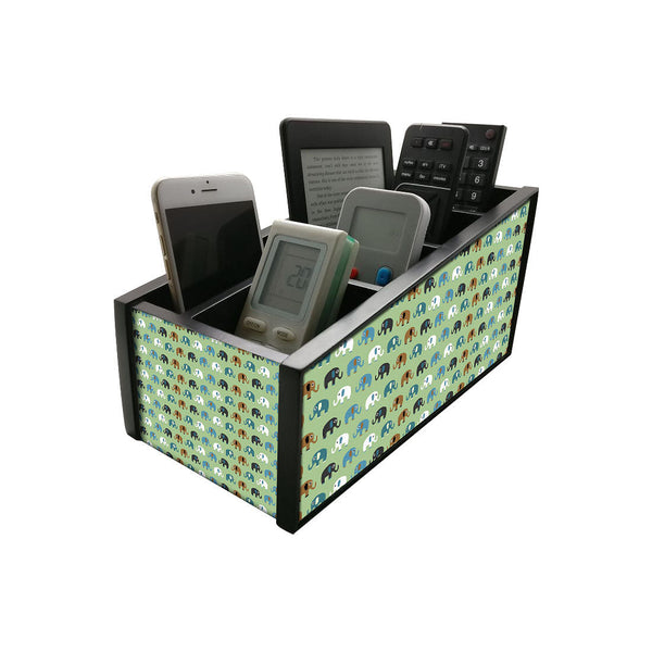 Nutcase Wooden Remote Control Stand iPad Holder For TV / AC Storage Multipurpose Organiser - Height 5in x Length 10in x Width 4.75in - Elephants Green - Nutcase