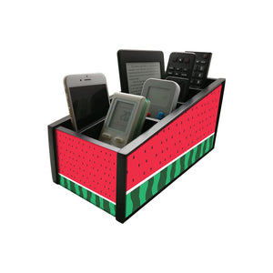 Nutcase Wooden Remote Control Stand iPad Holder For TV / AC Storage Multipurpose Organiser - Height 5in x Length 10in x Width 4.75in - Watermelon - Nutcase