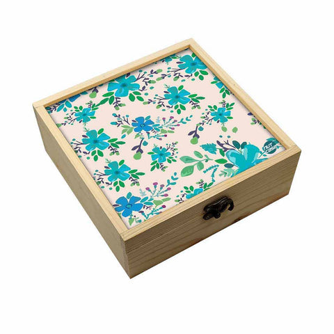 Jewellery Box Makepup Organizer -  Blue Flowers