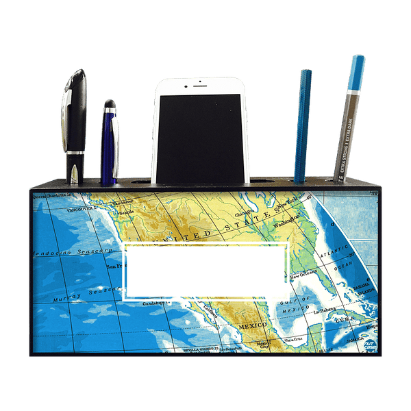 Custom Mobile Pen Stand Holder for Gift - World Map