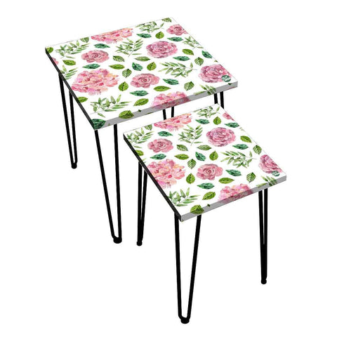 Nesting Tables Set Of 2 ,  Nest Of Tables For Living Room -   Pink Flower Green Leaf