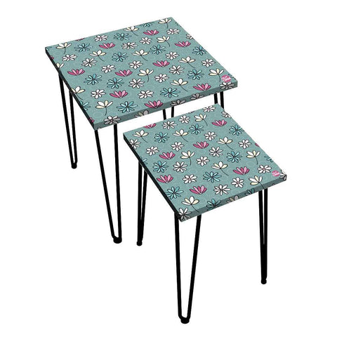 Nesting Tables Set Of 2 ,  Nest Of Tables For Living Room -   Vintage Flower Pattern