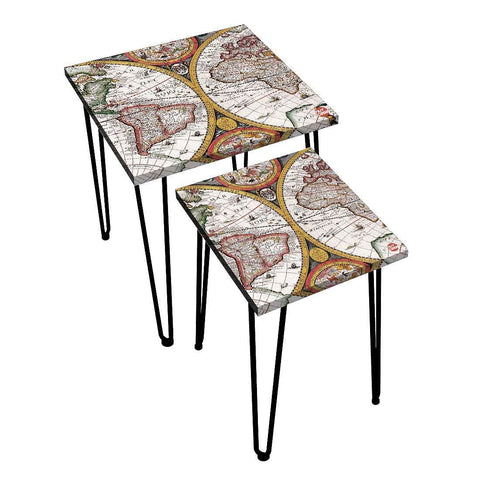 Nesting Tables Set Of 2 ,  Nest Of Tables For Living Room -   Vintage Map
