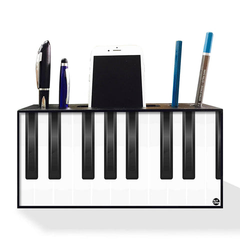 Pen Mobile Stand Holder Desk Organizer - White Piano