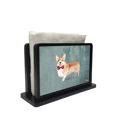 Tissue Holder Paper Napkin Stand - Cute Red Tie Dog
