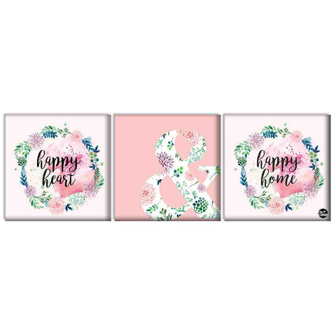 Wall Art Decor Hanging Panels Set Of 3 -Happy Heart & Happy Home Pink