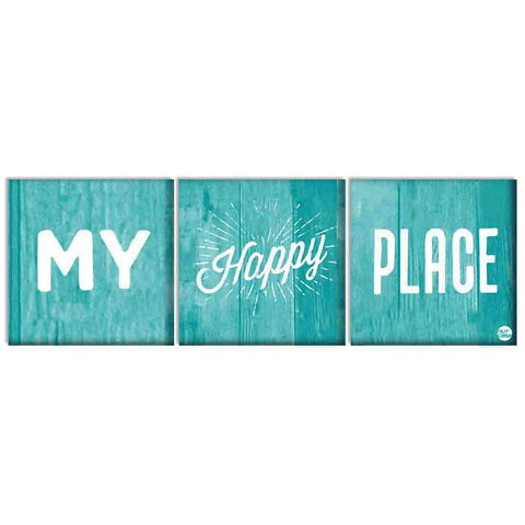 Wall Art Decor Hanging Panels Set Of 3 -My Happy Place