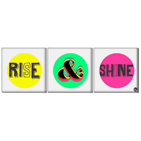 Wall Art Decor Hanging Panels Set Of 3 -Rise And Shine