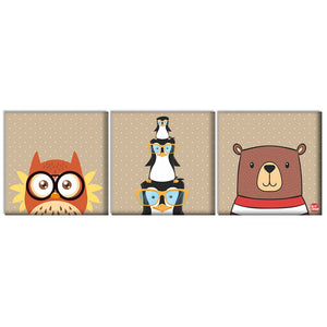 Wall Art Decor Hanging Panels Set Of 3 -Cute Owls