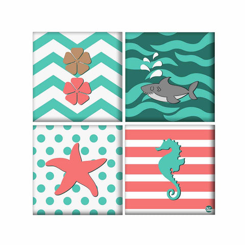 Wall Art Decor For Home Set Of 4 -Fish