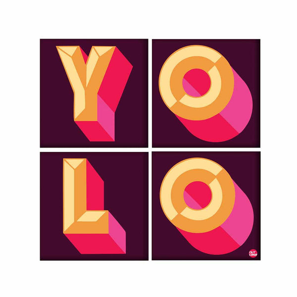 Wall Art Decor For Home Set Of 4 -YOLO