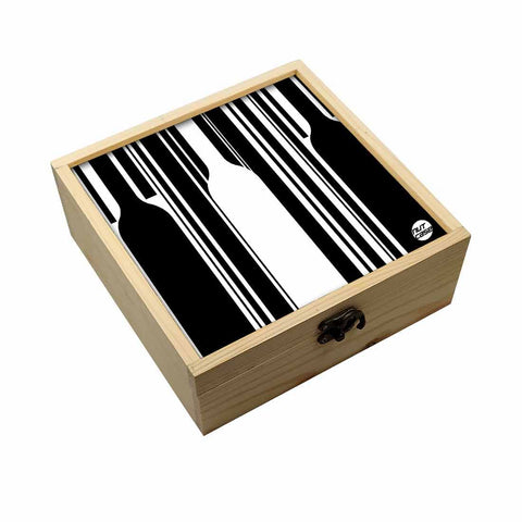 Jewellery Box Makepup Organizer -  Black And White Bottles