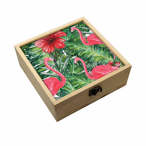 Jewellery Box Makepup Organizer -  Hibiscus Flower With Flamingoes