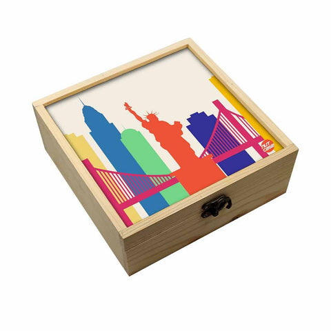 Jewellery Box Makepup Organizer -  Statue Of Liberty Orange