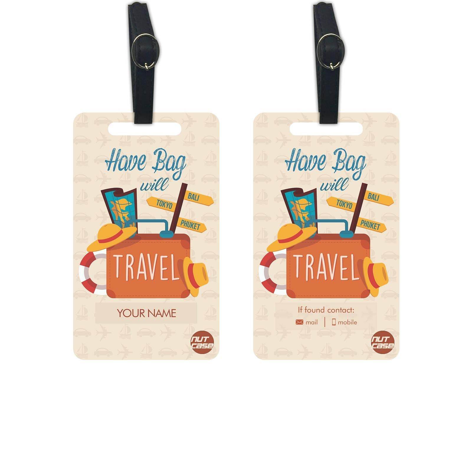 Personalised Travel Luggage Tags - Add your Name - Set of 2
