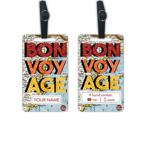 Custom Luggage Tags Bag Tag with your Name - Set of 2 - Nutcase
