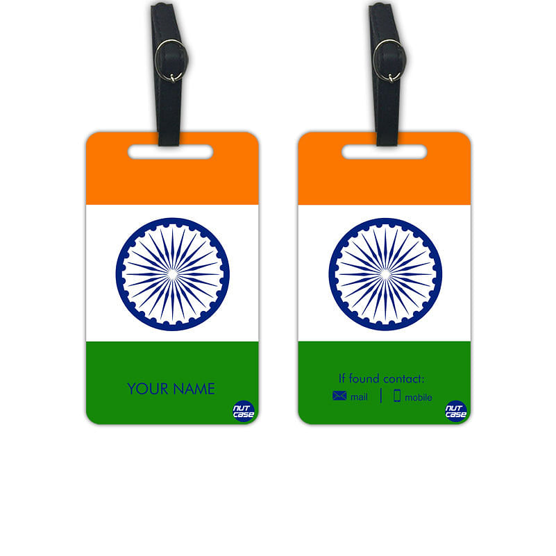 Best Personalized Luggage Tag Bag Label with your Name - Set of 2 - Indian Flag -Nutcase