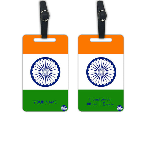 Indian Flag Personalized Luggage Tags Bag Label with your Name - Set of 2 - Nutcase