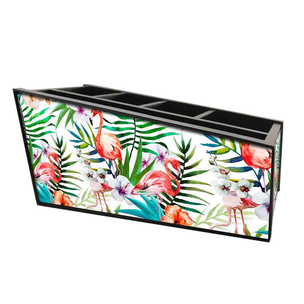 Nutcase Wooden Remote Control Stand iPad Holder For TV / AC Storage Multipurpose Organiser - Height 5in x Length 10in x Width 4.75in - White Hibiscus Leaves With Flamingo - Nutcase