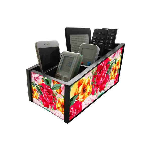 Nutcase Wooden Remote Control Stand iPad Holder For TV / AC Storage Multipurpose Organiser - Height 5in x Length 10in x Width 4.75in - Colorful Rose - Nutcase