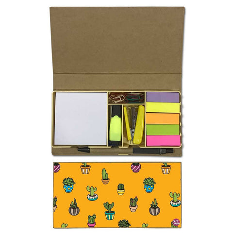 Stationery Kit Desk Organizer Memo Notepad - Cactus Cute