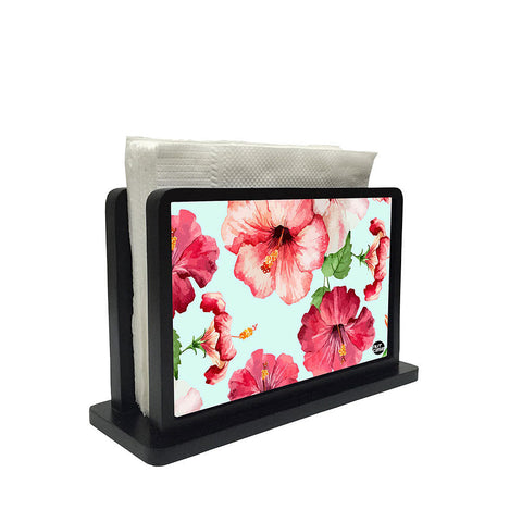 Tissue Holder Paper Napkin Stand -  Hibiscus With White Background