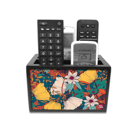 Remote Control Stand Holder Organizer For TV / AC Remotes -  Autumn Leaves