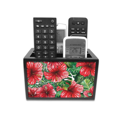 Remote Control Stand Holder Organizer For TV / AC Remotes -  Hibiscus Flower
