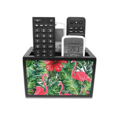 Remote Control Stand Holder Organizer For TV / AC Remotes -  Hibiscus Leaves With Flamingo