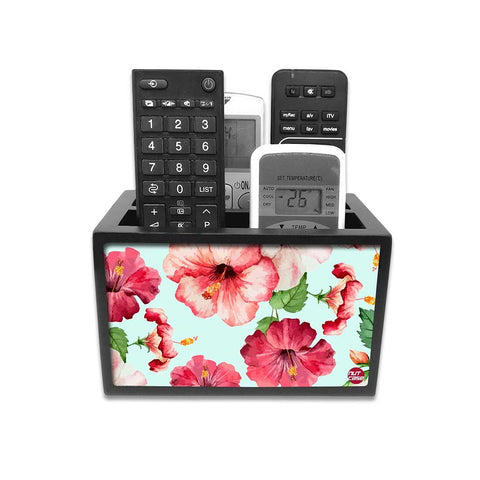Remote Control Stand Holder Organizer For TV / AC Remotes -  Hibiscus Flower With White Background