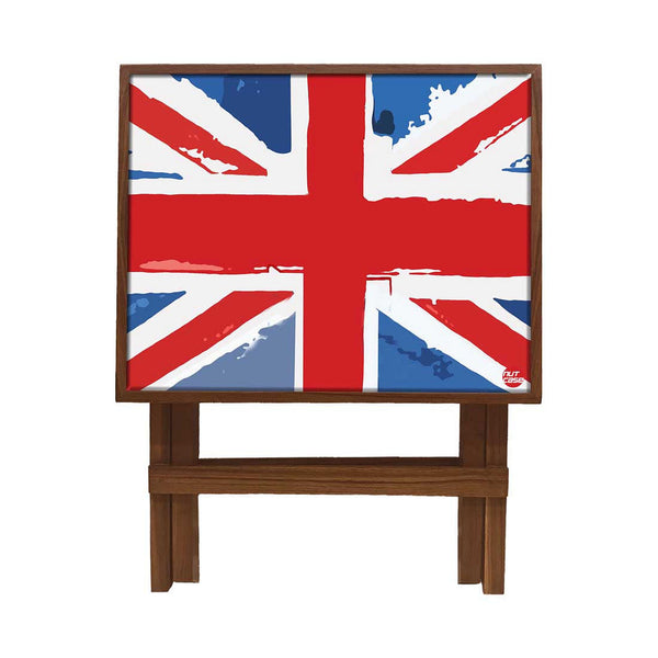 Folding Side Table - Teak Wood -British Flag