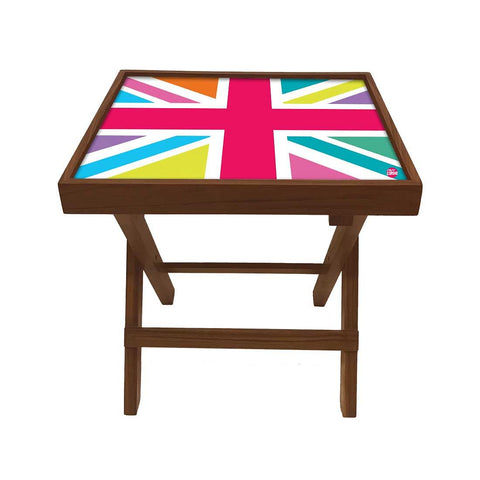 Folding Side Table - Teak Wood -Colorful Strips