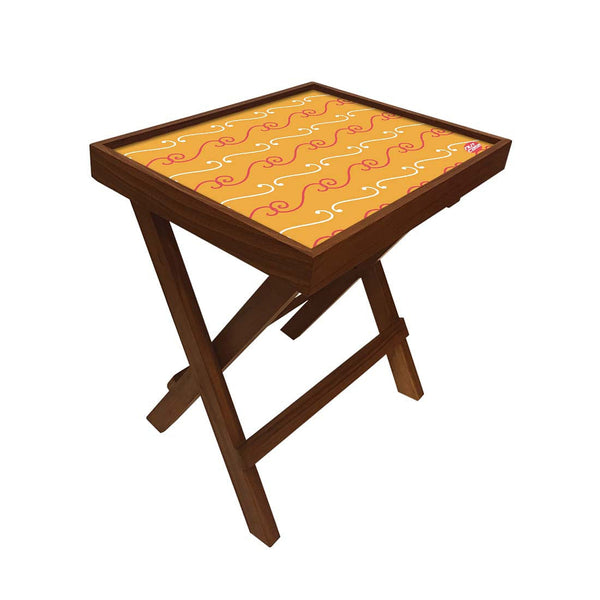 Folding Side Table - Teak Wood -Mustard Pattern