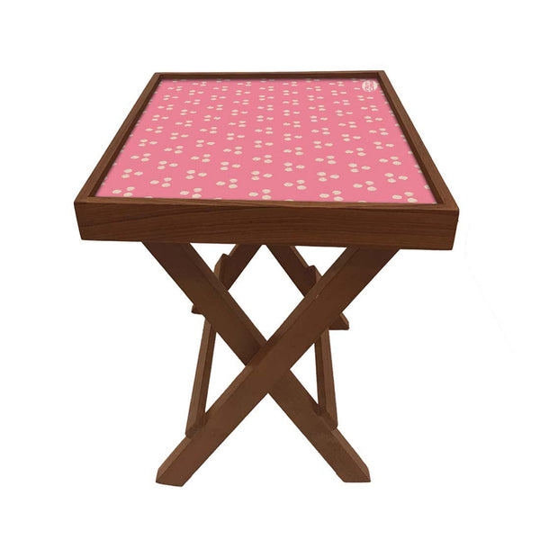 Folding Side Table - Teak Wood -Baby Pink Triangle