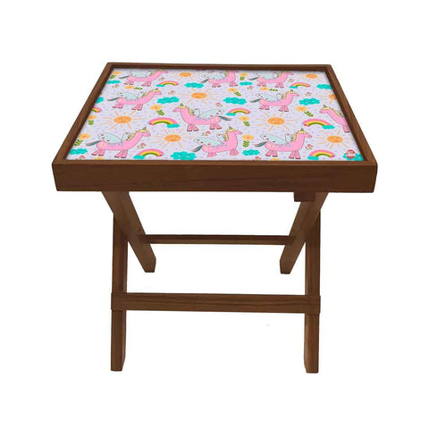 Folding Side Table - Teak Wood -Pink Unicorn