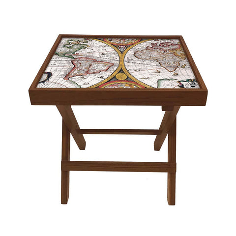 Folding Side Table - Teak Wood - Vintage Map